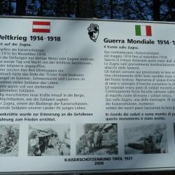 Monte Zugna: Erklärungstafel