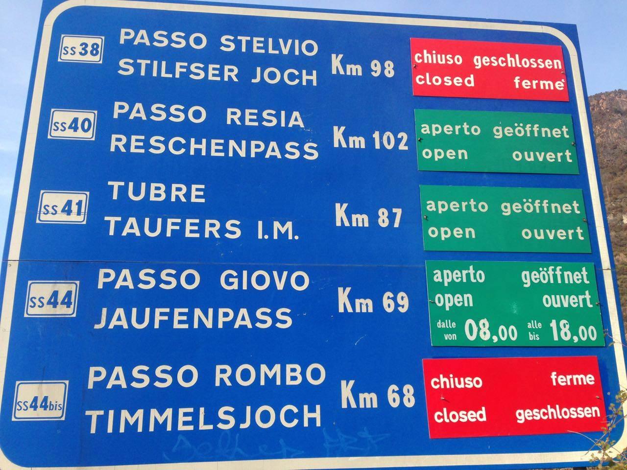Wintersperren Südtiroler Pässe