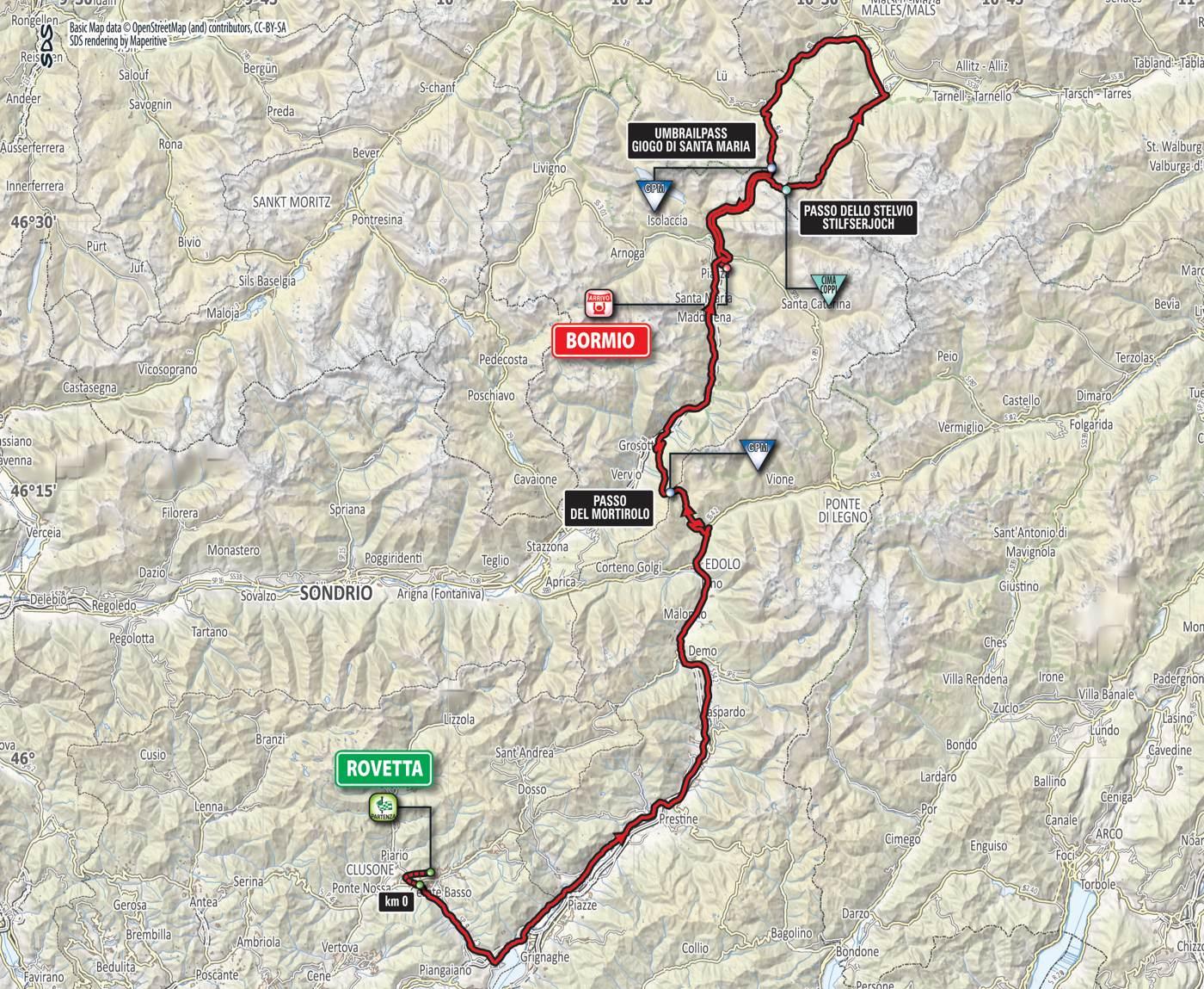 Giro d'Itaila 2017 Etappe Rovetta - Bormio / Karte